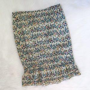 Marc Jacobs Yellow Blue Floral Button Silk Skirt